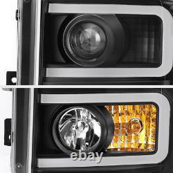 11-16 Ford F250 F350 SuperDuty Projector Headlight Twin OLED Tube Upgrade Black