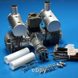 DLE 170CC Gas Engine Twin Cylinder Two Stroke Side Exhaust with CDI & Muffler