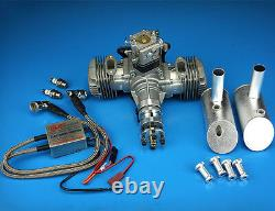 DLE 40CC Twin Cylinder Two Stroke Side Exhaust Gas Engine with Muffler&Ignition