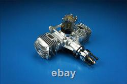 DLE 60CC Gas Engine Twin Cylinder Two Stroke Side Exhaust with CDI & Muffler
