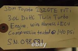 JDM Toyota 2JZGTE VVTi 3.0L DOHC Twin Turbo Engine Auto Trans Wire Harness Ecu