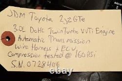 JDM Toyota 2JZGTE VVTi Engine 3.0L DOHC Twin Turbo Auto Trans Wire Ecu 2JZ Motor