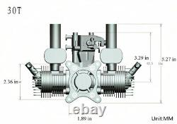 RCGF SE-30cc TWIN Cylinder Gas Engine (New version with 1/4 32 angled plugs)
