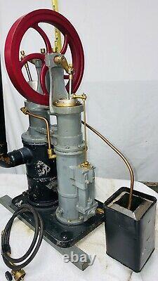 Twin Column Rider Ericsson Engine Co. Model Hot Air Vertical Flywheel Hit Miss